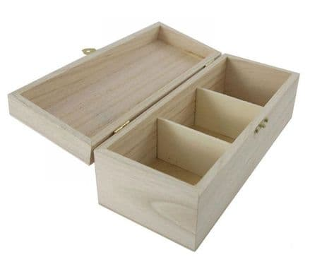 Tea Box with 3 Sections - 205mm x 80mm x 80mm