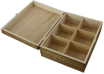 Tea Box with 6 Sections - 205mm x 160mm x 80mm